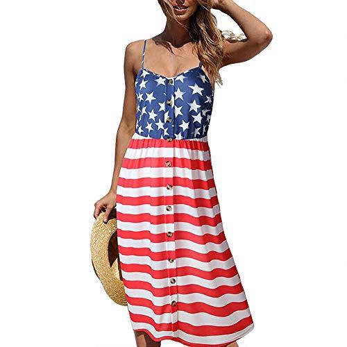 G Lake Women's USA American Flag Print Dress V-Neck Slip Dress Button Sleeveless Dress July 4th Midi Party Dress(M)]()