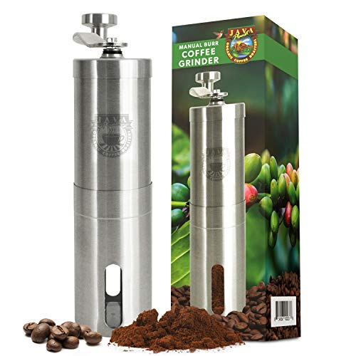 Java Planet - Manual Burr Coffee Grinder with Ceramic Conical Burr Mill - Stainless Steel