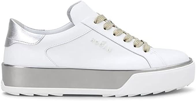 Hogan Sneakers R320 in White Leather Detail Silver, Womens, Size ...