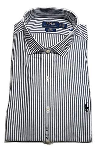 Ralph Lauren Polo Men's Slim Fit Easy Care Spread Collar Pony Logo Dress Shirt (Black/White, XXL(18 36/37))