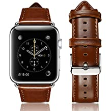 yearscase For Apple Watch Band, 42MM Retro Vintage Genuine Leather iWatch Strap Replacement for Apple Watch Series 3 Series 2 Series 1 Nike+ Hermes&Edition - Brown