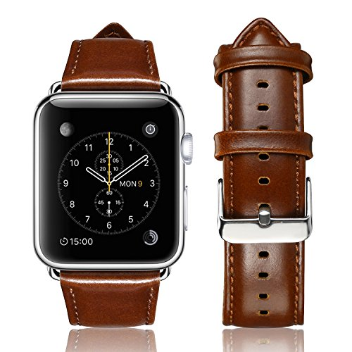 yearscase 42MM Retro Vintage Genuine Leather iWatch Strap Replacement Compatible Apple Watch Band Series 3 Series 2 Series 1 Nike+ Hermes&Edition - Brown by yearscase