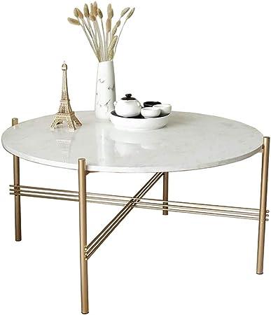 Mesas de Centro/mesas Laterales de mármol Blanco, mesas Redondas Modernas de la decoración de los Muebles del diseñador para la Sala de Estar o la Oficina, en Cesta de Oro: Amazon.es: Hogar
