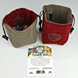 Third Die Dice Bag - Handcrafted And Reversible Drawstring Bag That Stands Open On The Table - Crimson and Dark Gray