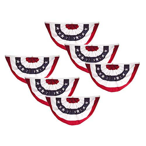 - Super Tough 6-Pack, 18in x 36in Sewn Polyester Pleated Fan Flag Bunting