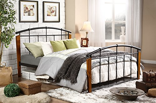 (Baxton Studio Optimus Modern & Contemporary Antique Bronze Metal & Walnut Wood Platform Bed, Queen, Dark)