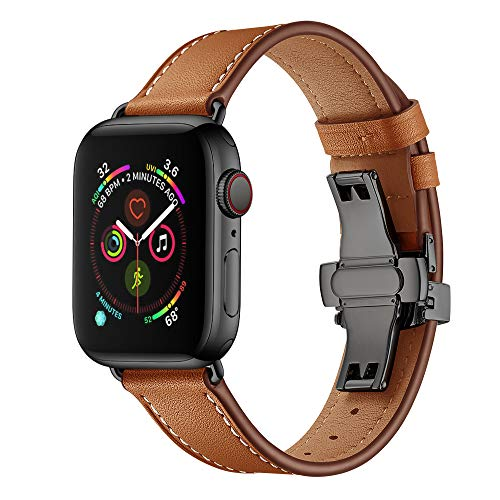 EloBeth iWatch Leather Band 44mm 42mm Genuine Leather Band Designed with Metal Butterfly Buckle Replacement Wrist Bands Compatible with Apple Watch Series 4/3 /2/1