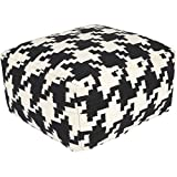 Surya POUF173-242413 100-Percent Wool Pouf, 24-Inch by 24-Inch by 13-Inch, Black/Ivory