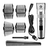 Professional USB Charging Ceramic Blade Trimmer - Dogs - Cats and Horse Pets Grooming Clippers - Low Noise Rechargeable Cordless with 4X Extra Limiting Comb