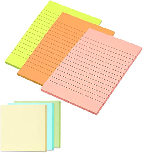 Lined Notes AIEX Sticky Notes Set Dotted Notes Office 6 Sizes Multicolored Sticky Tab Divider Sticky Notes Including Bookmark Index Blank Notes for School