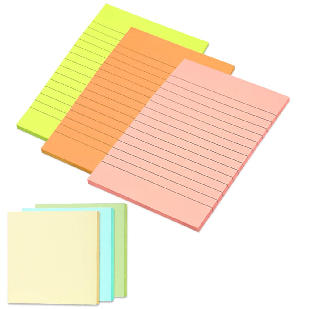 6 pcs Sticky Notes Pads, FineGood Notes Lined 50 Sheets/Pad (4in x 6in) and 100 Sheets/Pad (3 x 3) - Multi-Color