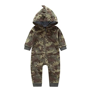 f72767dc5fc31 SRYSHKR Newborn Infant Baby Boy Camouflage Hooded Romper Jumpsuit Outfits  Warm Clothes (6M