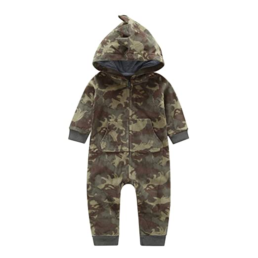15236d113 Amazon.com  Newborn Infant Baby Boy Girl Plaid Hooded Zipper Romper ...