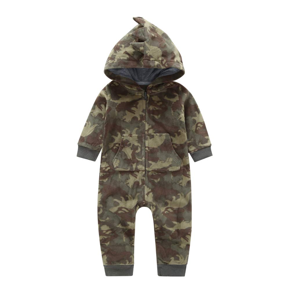 SRYSHKR Newborn Infant Baby Boy Camouflage Hooded Romper Jumpsuit Outfits Warm Clothes