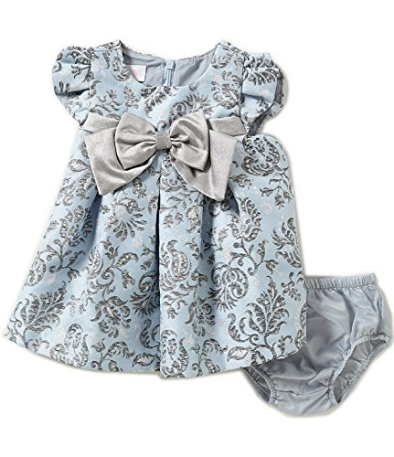 Bonnie Baby Baby Girls Short Sleeve Jacquard Party Dress, Blue, 3-6 Months -