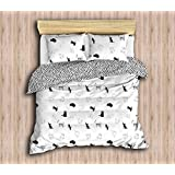 DecoMood Animals Cats Bedding Set, Special Design Kitten Kitty Bedding, Full/Queen Size Duvet Cover Set, Black White Bed Set, (4 Pcs)