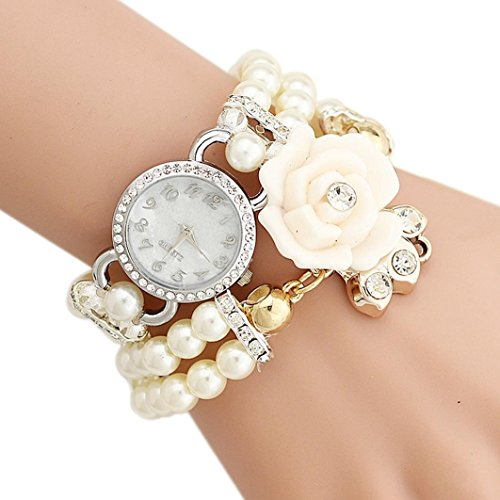 Hunputa Personalized Flowers Pearl Reinstones Band Wrapped Bracelet Watch Ladies Fashion Wrist Watch - Dial Link Pearl