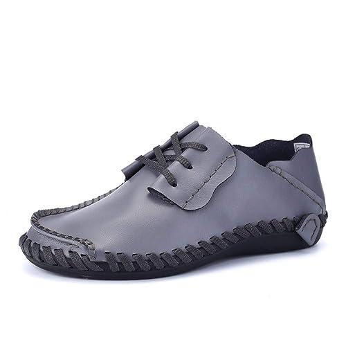 JIALUN-Zapatos Mocasines cómodos para Hombres, Casual y Amplio La Suela de Cuero Genuino Suave para Mocasines de Barcos de ventilación: Amazon.es: Zapatos y ...