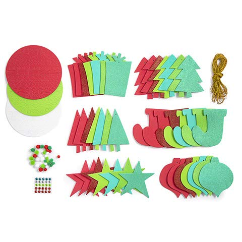 PWS Sales Christmas Ornament Craft Kit Holiday Party Platter Foam Shapes Include Trees, Stars, Presents 349 Pieces (Platters Sale Christmas)