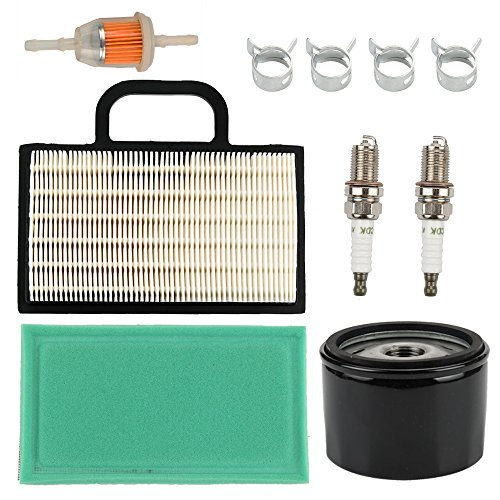Eztrak Series - Butom 698754 273638 Air Filter with Oil Fuel Filter for Briggs & Stratton Intek Extended Life Series V-Twin 18-26 HP John Deere L120 L111 L118 LA120 LA130 LA140 D130 D140 Lawn Mower Tractor