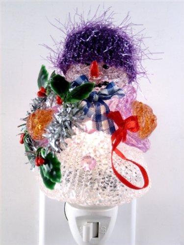 Fiberglass Snowman - Fiberglass Snowman with Purple Hat Night Light