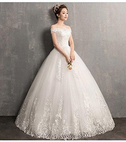 Qi MoMo Koreanische Hochzeitskleid Weiß Spitze langärmelige Schulter Schulter War Dünn Ein Brautkleid 8wt8qZ