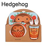 Cartoon Animals Dinner Plates Bamboo Fiber Children Kid Baby Food Plate Tableware Sets Unbreakable Plates Bowl Dishes Set Cup Spoon Fork 5pcs Dinnerware (5, Hedgehog)
