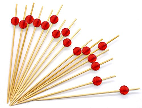 4.7'' Red Bamboo Cocktail Ball Picks. Includes 300 Decorative Bamboo Cocktail Skewers With Red Shiny Beads. Great For Cocktail Parties, Hors D'oeuvres, Weddings, Receptions, Holidays And Much More!! by Premium Disposables