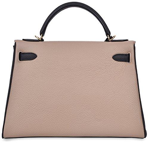 Shoulder Top Handbags Taupe Padlock Handle Black Kiss Cherish Handbag Cross Grey Satchel Women's Body Ewfaq8