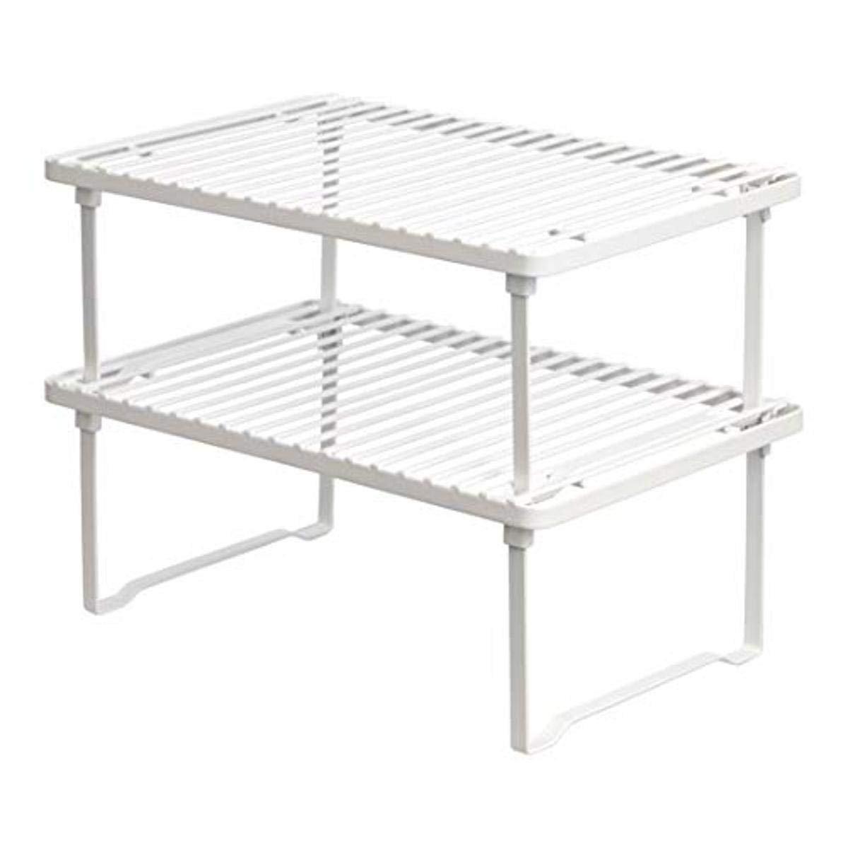 Amazon Basics Metal Stackable Kitchen Storage Shelves - White