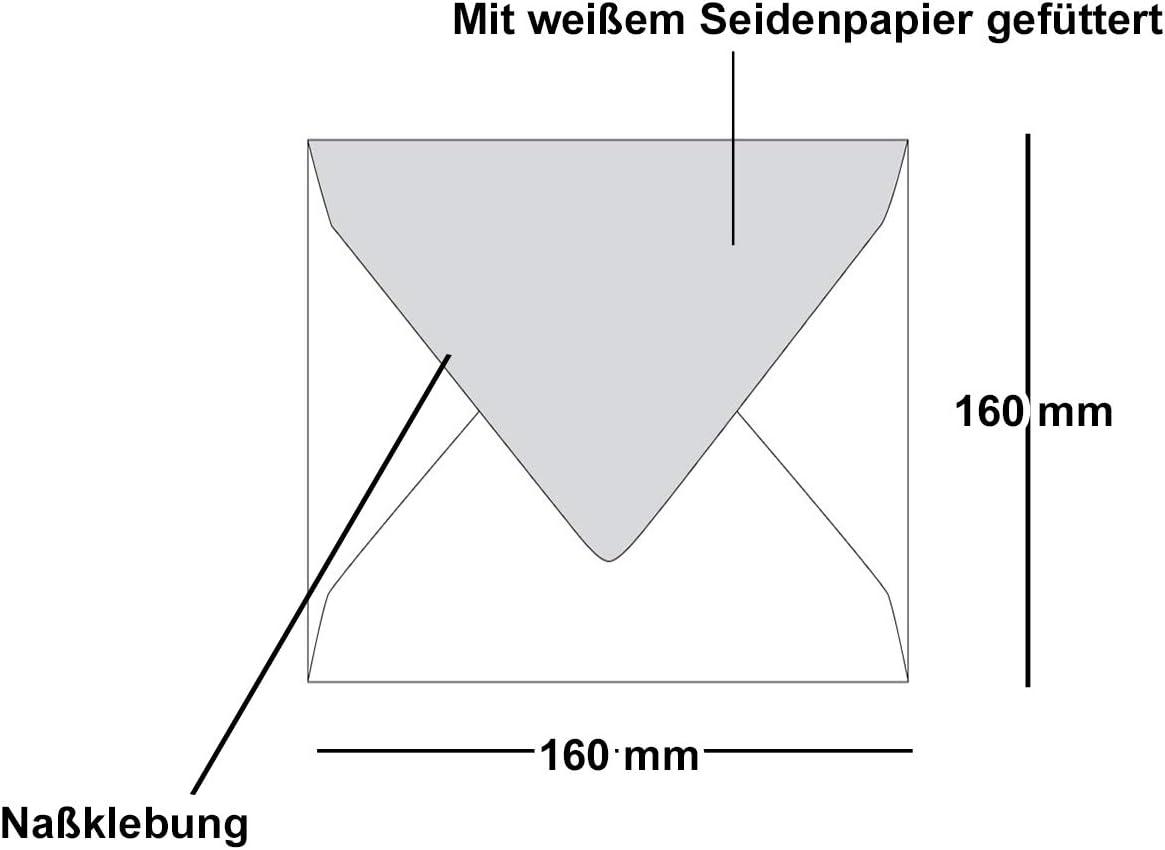 Umschl/äge mit wei/ßem Seidenfutter 100 x Briefumschl/äge Quadratisch 16 x 16 cm in Dunkelrot Kuverts ohne Fenster /& Nassklebung 90 g//m/²
