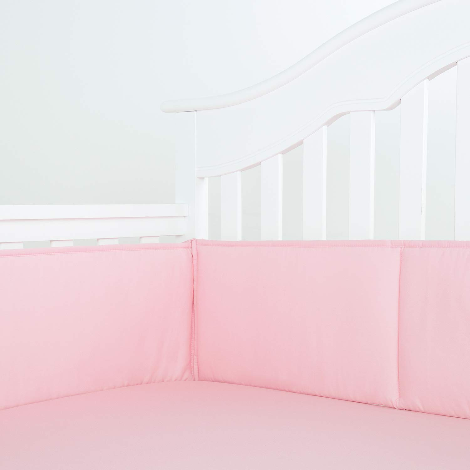TILLYOU Cotton Collection Nursery Crib Bumper Pads for Standard Cribs Machine Washable Padded Crib Liner Set for Baby Girls Safe Bumper Guards Protector de Cuna Thick Rail Padding, 4 Piece, Lt Pink by TILLYOU