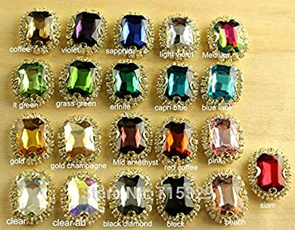 Calvas 15pcs 10x14mm rectangle crystal Sew on handmake rhinestones chain flower gold claw Crystal DIY for dress or shoes Item Diameter: black