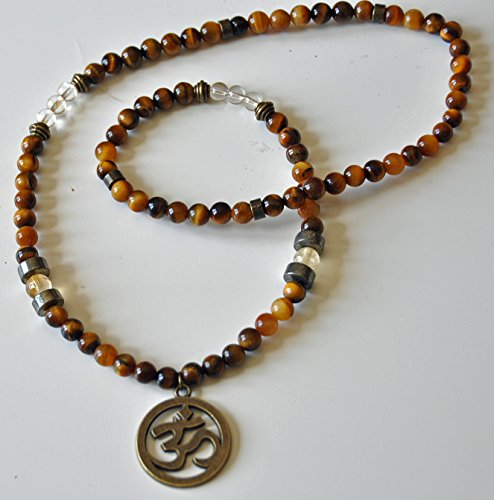Abundance and Money, Men Citrine Tiger's Eye Prosperity Necklace, Genuine Gemstone Mens Necklace, Pyrite Necklace, Yoga necklace Citrine Tigers Eye Necklace