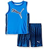 PUMA Little Boys' Active Tank and Short Set, Blue, 6