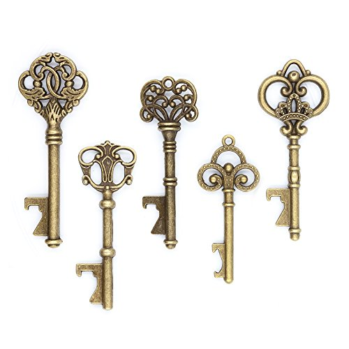 Ella Celebration 50 Key Bottle Openers, Assorted Vintage Skeleton Keys, Wedding Party Favors (50, Antique Gold)