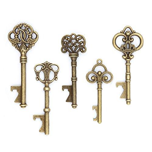 Ella Celebration 50 Key Bottle Openers, Assorted Vintage Skeleton Keys, Wedding Party Favors (50, Antique -