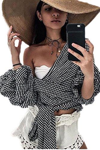 CV-cuello Puff manga Bowknot camisa de las mujeres Black1