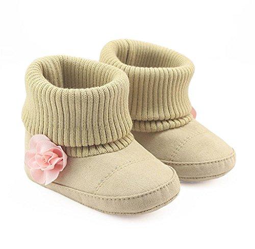 Covermason Neugeborene Baby Blume Schuhe Krippenschuhe Weiche Sohle Prewalker Warm Stiefel Beige