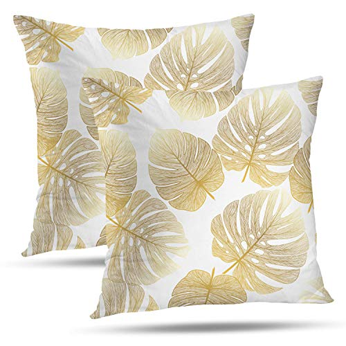 (Batmerry Spring Pillows Decorative Throw Pillow Covers 18x18 Inch Set of 2, Tropical Monstera Palm Leaf Floral Print Fabric Double Sided Square Pillow Cases Pillowcase Sofa Cushion)