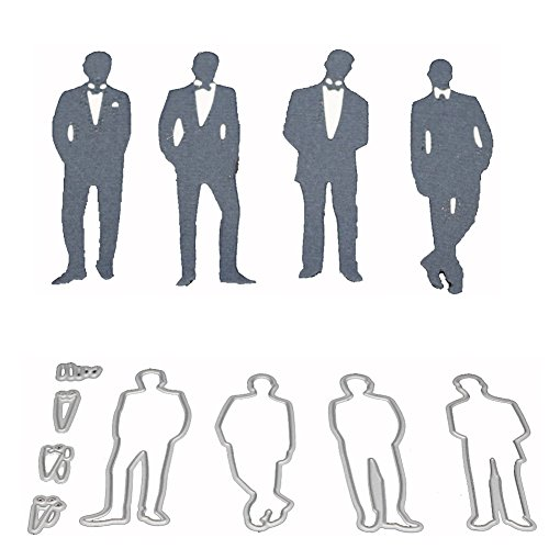 Ocamo 4 Men in Business Suit Carbon Steel Cutting Dies Knife Mold Stencils DIY Scrapbooking Die Cuts Decor Crafts Embossing Templates Art Cutter 8Pcs/Set