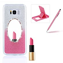Diamond Mirror Case for Samsung Galaxy S6,Bling Silicone Case for Samsung Galaxy S6,Herzzer Gradient Color Glitter Sparkle Rhinetones Soft TPU Bumper Scratch Resistant Back Cover for Samsung Galaxy S6 + 1 x Free Pink Cellphone Kickstand + 1 x Free Pink Stylus Pen - Pink