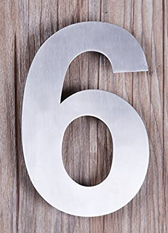 QT Modern House Number - SMALL 4 Inch - Brushed Stainless Steel (Number 6 Six / Number 9 Nine), Floating Appearance, Easy to install and made of solid (Steel House Numbers)