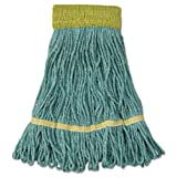 UNISAN Mop Head, Super Loop Head, Cotton/Synthetic Fiber, Small, Green, 12/Carton