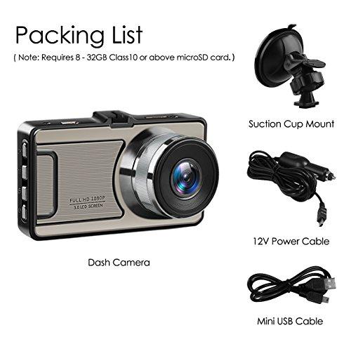 Favoto Dash Cam Full HD 1080P 12 Megapixel Camera 3'' Large LCD Screen 170° Wide Angle Lens Car Camera Recorder with G-Sensor WDR Night Vision Loop Recording Motion Sensor by Favoto (Image #6)