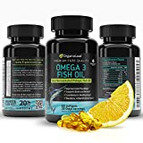 OrganoLeaf Omega 3 Fish Oil Supplement Triple Strength - Supports Immune System - Reduces symptoms of inflammation & chronic skin ailments - High EPA/DHA - Lemon flavored softgel capsules - Burpless