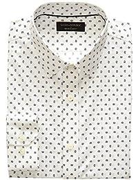 Mens Slim-Fit Non-Iron Print White Shirt