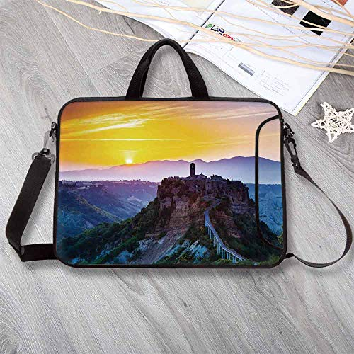 Tuscan Decor Lightweight Neoprene Laptop Bag,Old Historic Castle and Town on Top of The High Hills in Italian Renaissance at Sunset Print Laptop Bag for Laptop Tablet PC,17.3