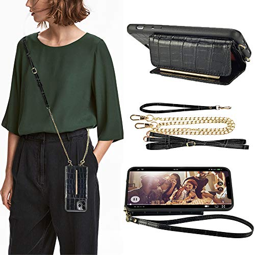 ZVEdeng Wallet Case Compatible with iPhone 11 Pro Max Card Holder Case with Crossbody Chain and Wrist Strap Lanyard Case, Mini Crossbody Bag Bumper Phone Case-Crocodile Skin Black