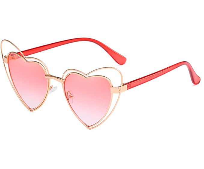 e5bb876c84 Olivia Women Metal Heart Frame Mirror Lens Cupid Heartshape Sunglasses(Gold  Frame Gradient Pink)